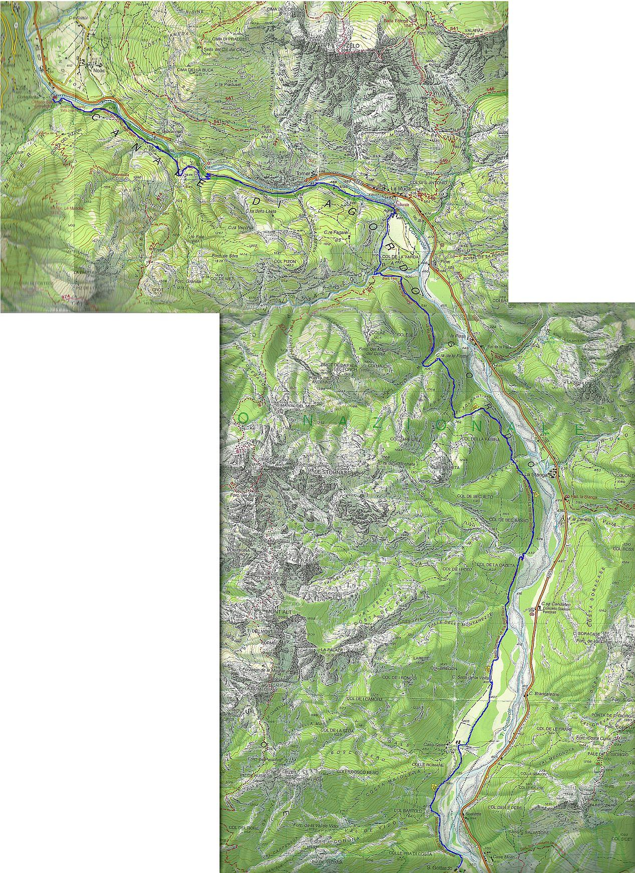 Cartina Tabacco 024.La Via Degli Ospizi Da Vedana Alle Miniere Di Val Imperina